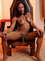 Lovely ebony transsexual Natalia Coxxx posing