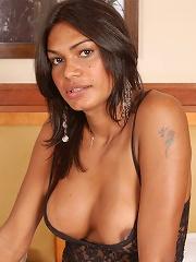 Delightful t-girl Ana Paula stroking her big erect cock