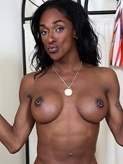 Beautiful ebony tgirl Natalia Coxxx stripping and teasing