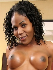 Tracey is slender black tgirl with some delicious, swollen chocolate breasts! She also has a long, rock hard cock that shes not afraid to use with tha