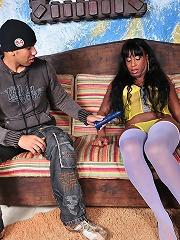 T-girl Pamela stroking off with a dildo up her ass